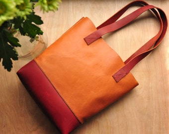 Personalised Simple Leather Tote Bag / Leather Bag / Leather Purse / Simplistic Tote / Minimalist Bag in Tan and Wine Leather
