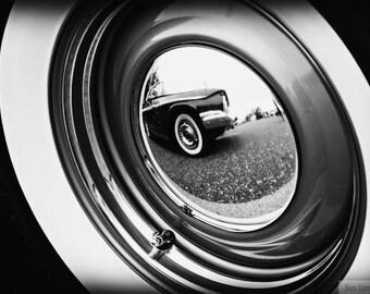 Vintage Car Tire, Black and White - Rustic Wall Art - Classic Car Art Prints - Retro Print - Vintage Car Photography - Garage Art - 8x10