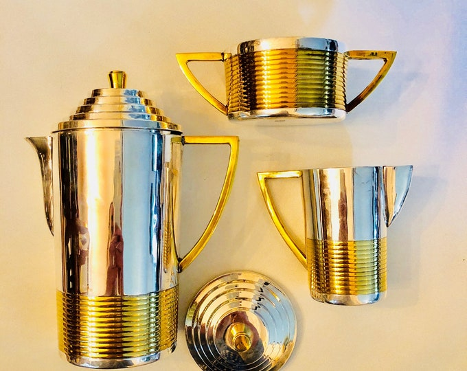 Featured listing image: RARE Art Deco Silver-Plated + Brass Turkish Coffee Service Set - Vintage Turkish Coffee Pot, Sugar Bowl + Creamer - FREE SHIPPING