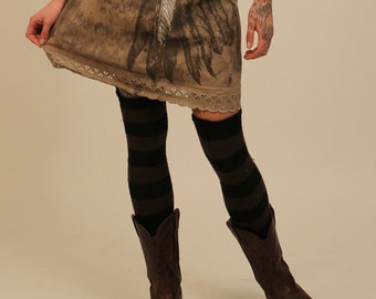 Medium sized Natural Dyed Wing Skirt with lace