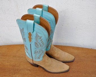 90s Vintage Lucchese Boots || Turquoise Cowboy Boots. Leather Cowgirl Boots. Rockabilly Boots. Boho Western || Extra Narrow. Size 6 Size 5.5