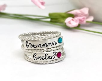Mother's Rings - Personalized Birthstone Rings - Personalized-  Mothers Day Gift