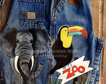 Denim Overalls, Painted Dungarees, Elephant, Toucan, Giraffe, Zoo Themed Toddler Clothing for Birthday Party, Gift for Boys, Girls, Children