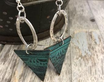 Hammered Metal Earrings-Leather--Boho Earrings-Oil Diffusers