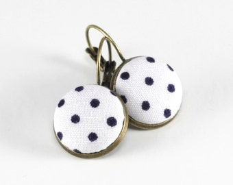 Antique Leverback Earrings - Black and White Polka Dots, Classic Fabric Covered Buttons Jewelry, Elegant Drop Earrings, Vintage Look Jewelry