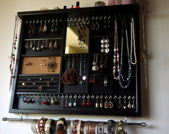 Jewelry holder. Large earrings display with shelf. BLACK jewelry storage. Wooden wall mount earring holder with mirror. Necklace rack
