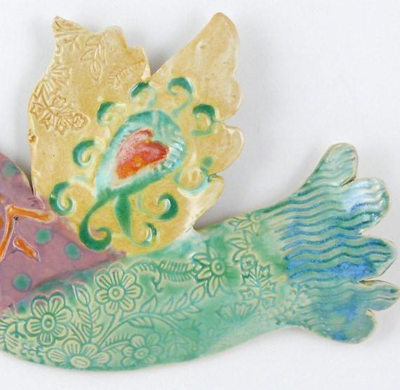 Ceramic Wall Bird Ceramic Wall Art Hand Made Pottery Bird by