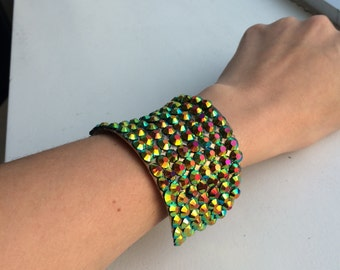 Jeweled Cuff, Rhinestone Bracelet, Green Yellow Black Iridescent Stone Bracelet,