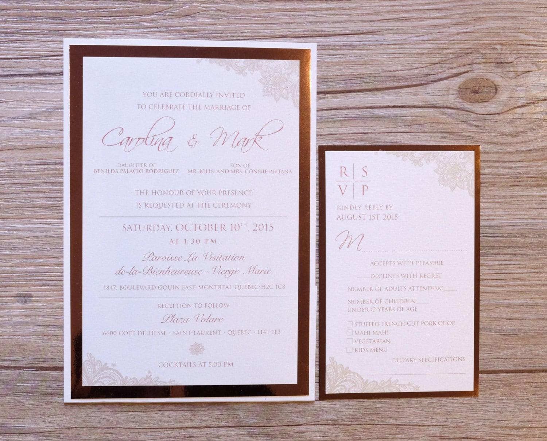 Rose Gold Invitation Rose Gold Wedding Invitation Rose Gold