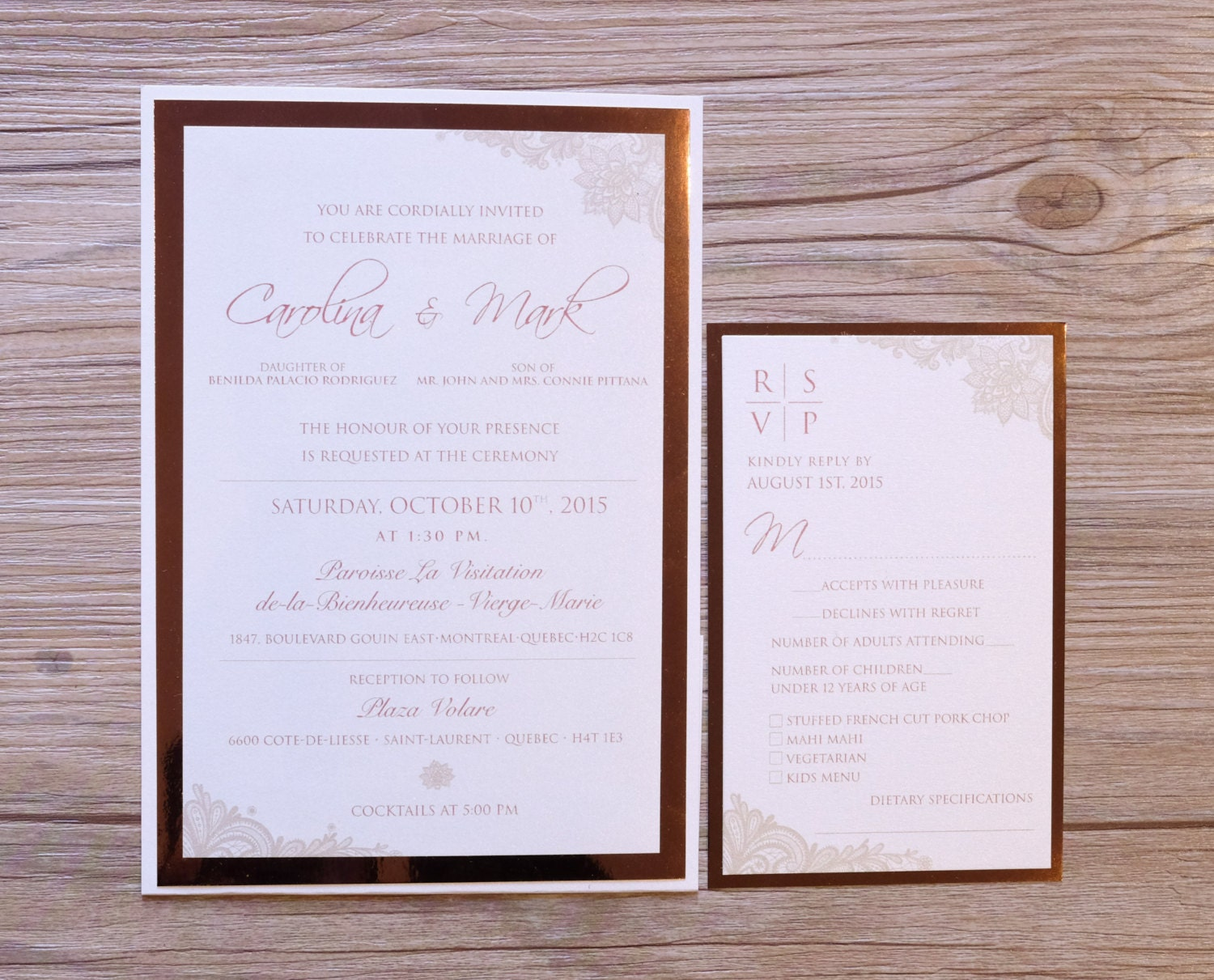 Rose Gold Invitation Rose Gold Wedding Invitation Rose Gold