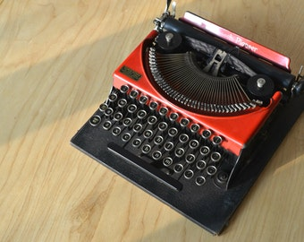 Rare Typewriter - Red Monarch Pioneer - Childrens Typewriter - Fully Working