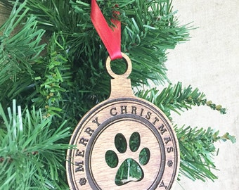 Dog Paw Ornament, Dog Christmas Ornament, Dog Ornament, Custom Dog Ornament, Pet Christmas Ornament, Wood Dog Ornament, Dog Christmas