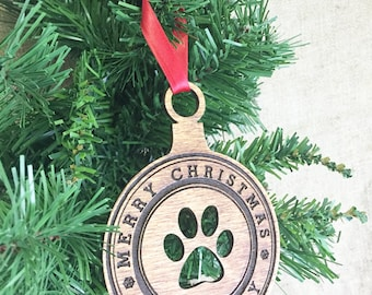 Dog Name Ornament, Personalized Dog Ornament, Custom Pet Ornament, Christmas Gifts for Dogs, Dog Christmas Ornament, Puppy Gift