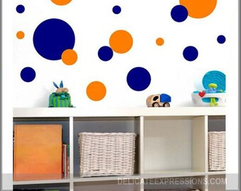 Polka Dots Wall Decal Set of 140 Nursery Wall Decal Polka Dot Decals Peel and Stick Vinyl Dots Wall Decals Nursery Dots Accent Wall Dots