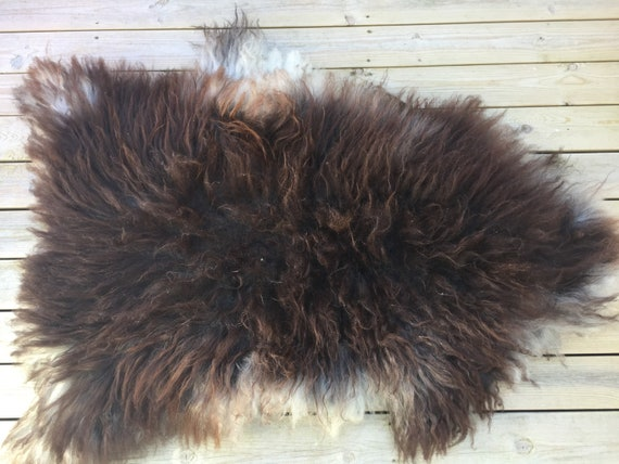 Real natural Sheepskin rug supersoft rugged throw from Norwegian norse breed medium locke length sheep skin brown grey 18077