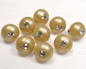 """Tiny Sparklers: 5/16"""" (8mm) Sand & Clear Rhinestone Half-Ball Buttons - Set of 9 Vintage Matching Buttons"""