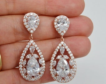 Rose Gold Bridal Earrings, Cubic Zirconia Crystals, Sterling Silver Posts, Drop Stud Earrings, Shelby- Ships in 1-3 Days