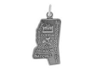 Sterling Silver 21x12mm Mississippi State Charm (sku 2236 - CHSS-ST-MS)