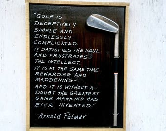 Arnold Palmer/ Golf is... New larger size! Reclaimed Wood/ Vintage golf club/ golf gift