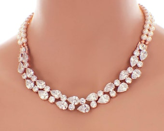 Rose gold backdrop necklace, pearl bridal necklace, backdrop wedding necklace, Swarovski pearl necklace, bridal jewelry, cubic zirconia