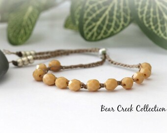 Summer Stacking Bracelet, Beige, Tan, Caramel, Crochet, Bead Bracelet, Bohemian Jewelry, Bohemian, Crochet Jewelry, Bead and Cord Jewelry