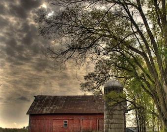 Barn Photograph, Farm Photography, Michigan, Traverse City, Leelanau Photo, Red Barn