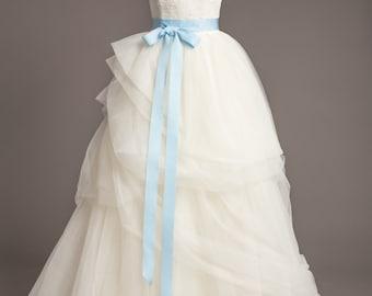 "Light Blue Wedding Sash - 1.5"" - Romantic Luxe Grosgrain Ribbon Sash - Wedding Belt, Bridal Sash, Bridal Belt - Wedding Dress Sash"