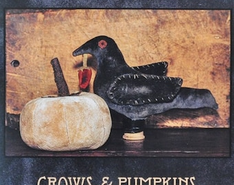 SALE - Crows And Pumpkins - From Blackberry Primitives - 8.00 Dollars