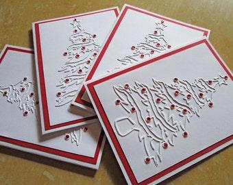Tree Christmas Cards, Embossed Christmas Card Set, Holiday Cards, Boxed Christmas Card Sets, Holiday Card Set, Merry Christmas Card Sets
