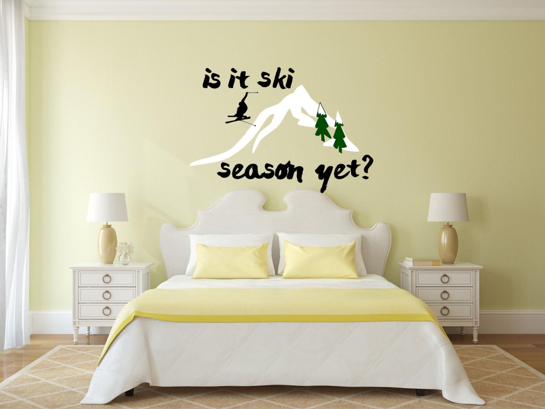 Ski wall decal, ski lover gifts, skiing decor, skiing wall decal ...