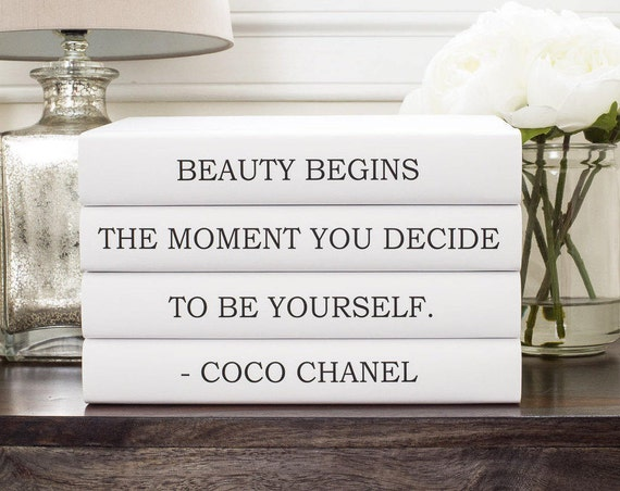 coco chanel decor chanel quote decorative books chanel book. Black Bedroom Furniture Sets. Home Design Ideas