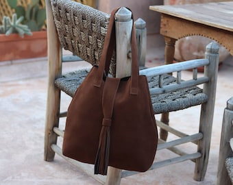 Camel suede with pouch bag
