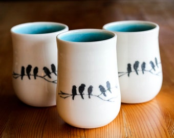 Made to Order : Porcelain tumbler/handleless mug with hand drawn crow image