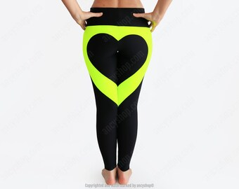Black heart leggings, glow in the dark, heart shape leggings, blacklight clothes, black leggings, dance leggings, sexy running pants