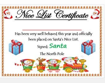 Printable nice list certificate, Instant Download,  Nice list, DIY Letter, Christmas Printables, Printable Certificate,Santa List