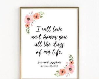 I Will Love and Honor You   Catholic Christian Wedding Art   8x10 Print