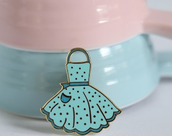 Blue apron, hard enamel pin, enamel pin set, cloisonne, baking enamel pin, lapel pin, pin badge, baking, kawaii enamel pin, retro enamel pin