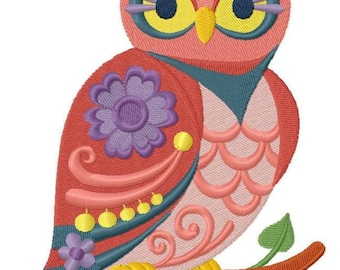 Flower Power Owl (4.71 x 7.45) Iron-on Patch - Iron on Patch - Embroidered Patch - Applique - MADE TO ORDER