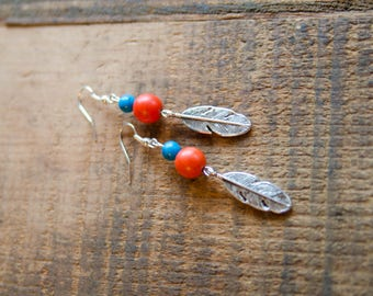 Large Feather Charm with Orange and Blue Distressed Beading