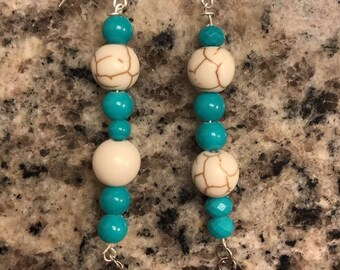 Teal Pattern Earrings