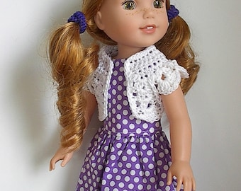 "14.5"" Doll Clothes Sleeveless Cotton Dress and Crocheted Bolero Shrug Handmade to fit Wellie Wishers Dolls - Purple and White Polka Dots"