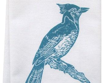 NEW block print blue jay tea towel organic cotton