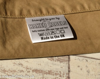 100 x Custom clothing labels - Silky Satin for textile with FREE cutting - Fabric Labels, sew-in custom care labels, garment labels