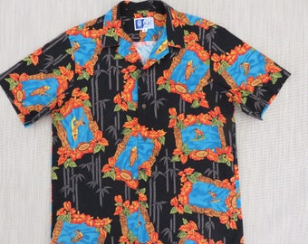 Hawaiian Shirt Men RJC LTD. Vintage Surf Hawaii Mod Surfer Aloha Shirt Tiki Tribal Hibiscus Black 100% Cotton - L - Oahu Lew's Shirt Shack