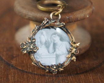 Antique Necklace with French Mourning Picture Pendant Brass Chain and a Brass Acorn