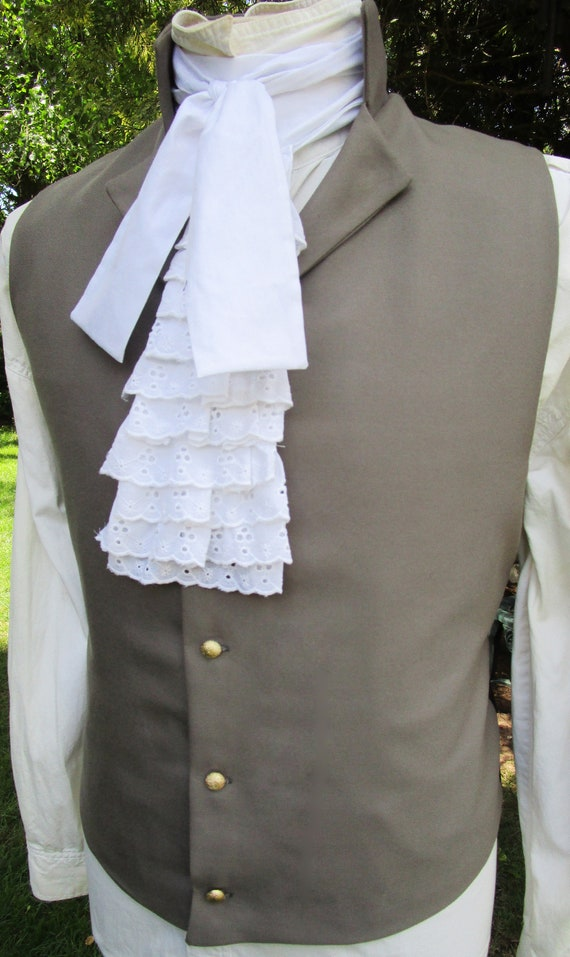 Men's Regency Styling High Collar Forest Green Lapel Vest Waistcoat 42