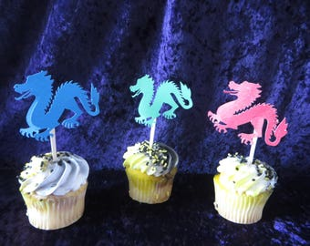 Dragon cupcake toppers - perfect for your Game of Thrones or Harry Potter fan - cupcake toppers, dragon toppers, dragon picks, birthdays