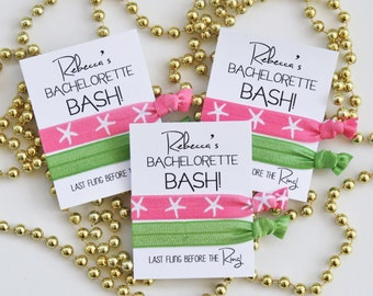 Bachelorette BASH Hair Tie Favors | Last Fling before the Ring | Beach Bachelorette Party | Bachelorette Party Favors | PERSONALIZED | 2ct
