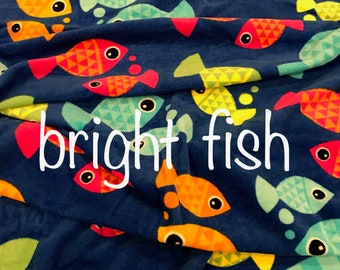 Child's Personalized Beach Towel Blue with Bright Fish