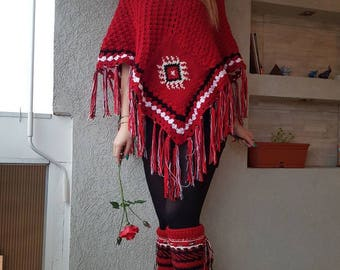 Red knit poncho Boho Fringe poncho Red poncho Serbian girls Ehtno Slavic clothes Vintage poncho Cover up Crochet fringe poncho Balkan ethno